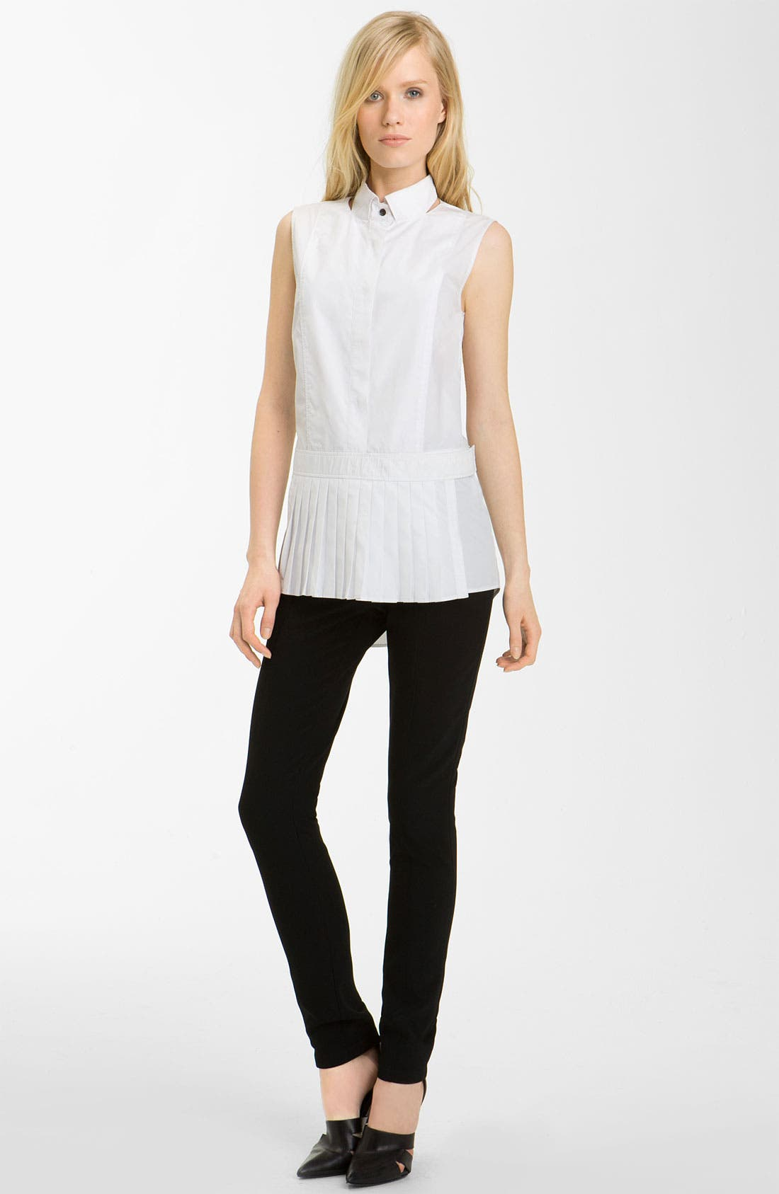 Alternate Image 1 Selected - Alexander Wang Pleated Hem Poplin Shirt