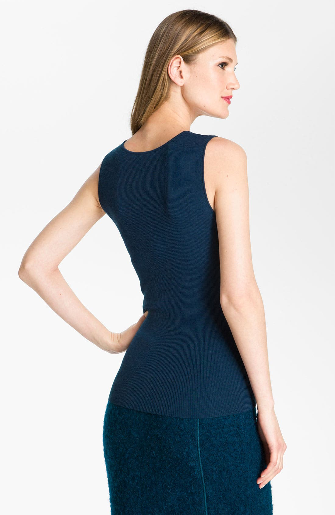Alternate Image 3  - St. John Collection Ribbed Scoop Neck Shell