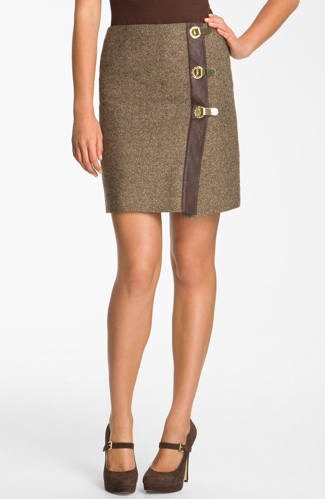 Alternate Image 1 Selected - MICHAEL Michael Kors Faux Wrap Tweed Skirt