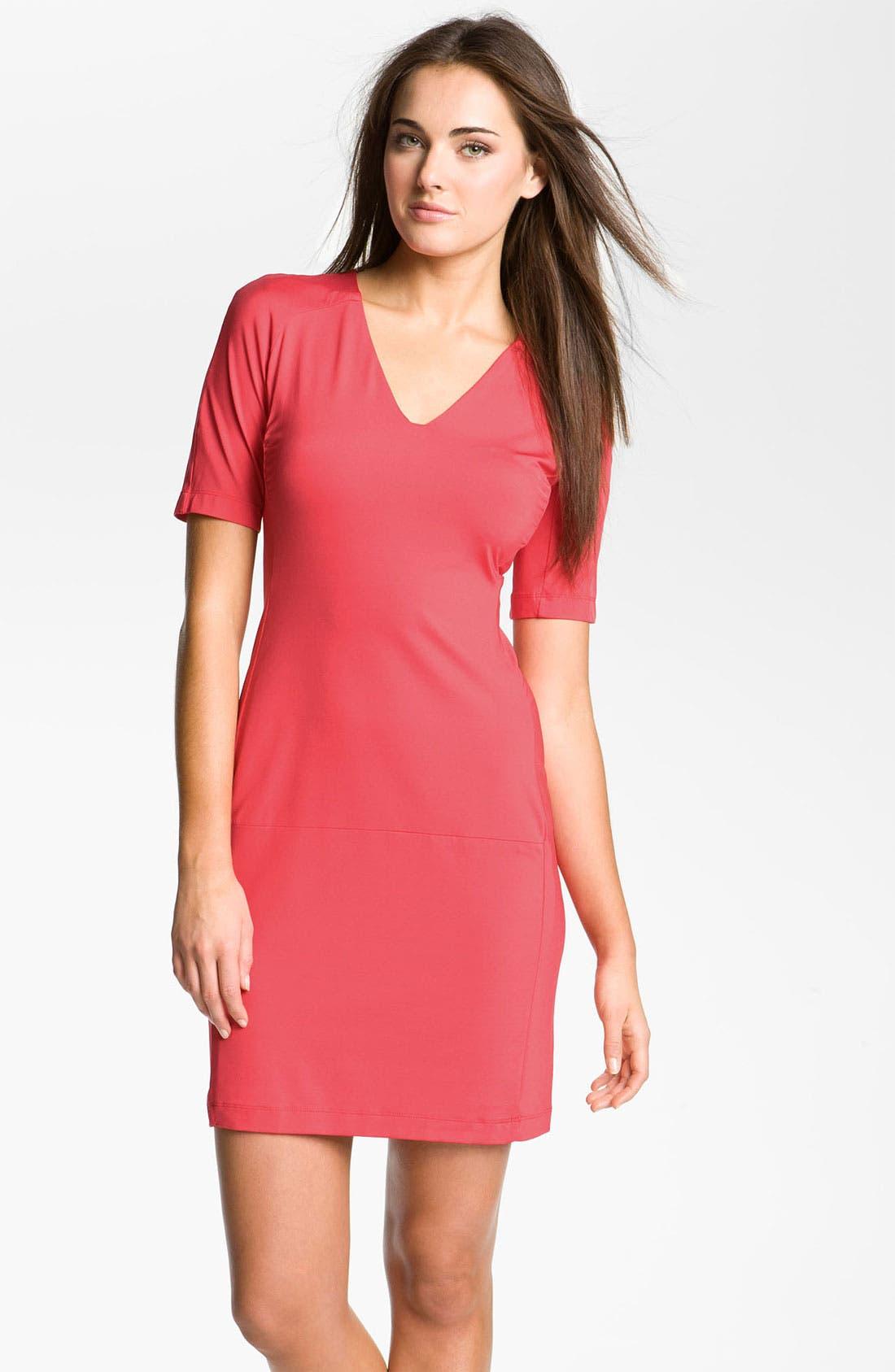 Alternate Image 1 Selected - Donna Morgan V-Neck Jersey Sheath Dress