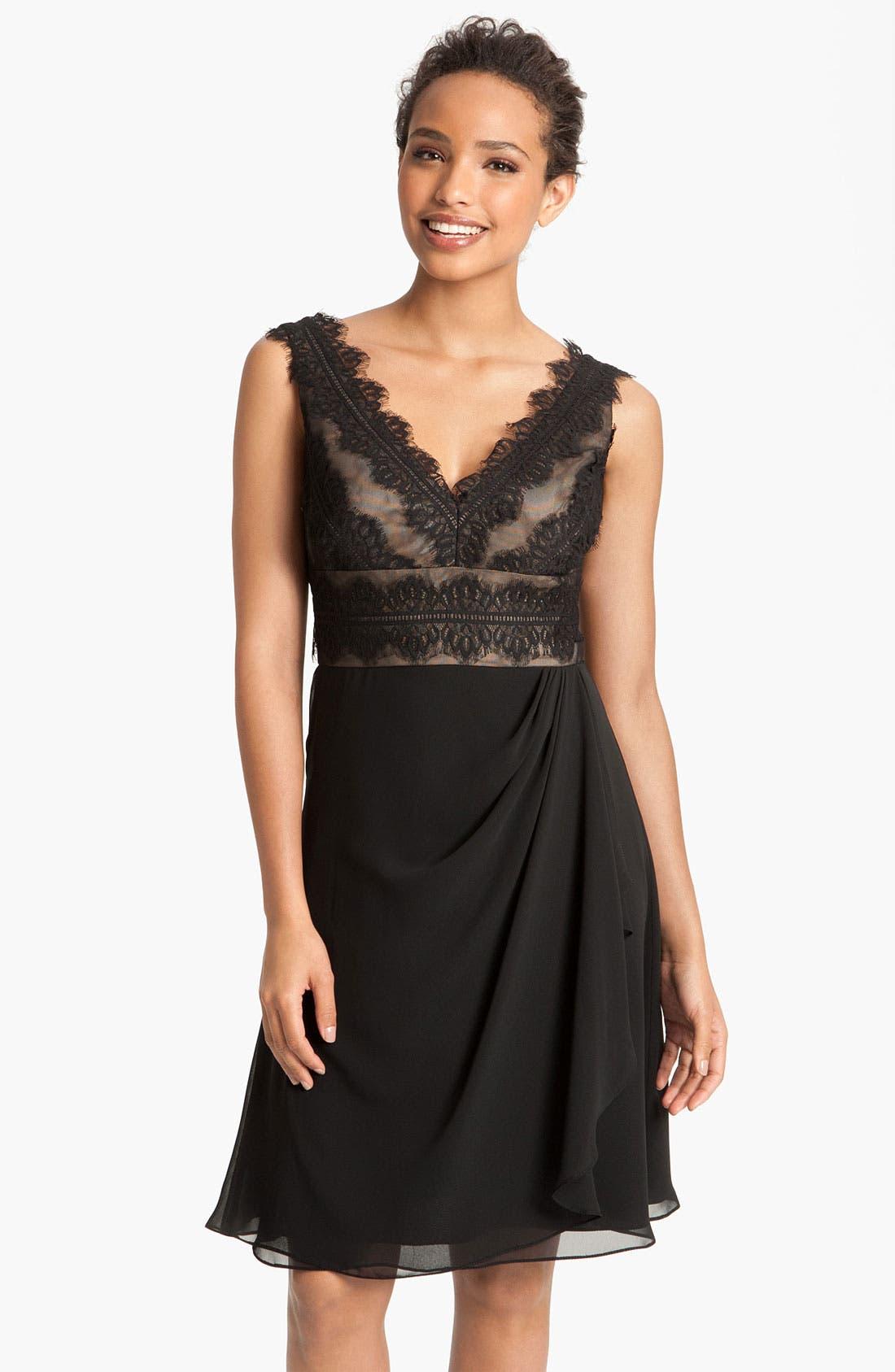 Alternate Image 1  - JS Collections Lace & Chiffon Sheath Dress