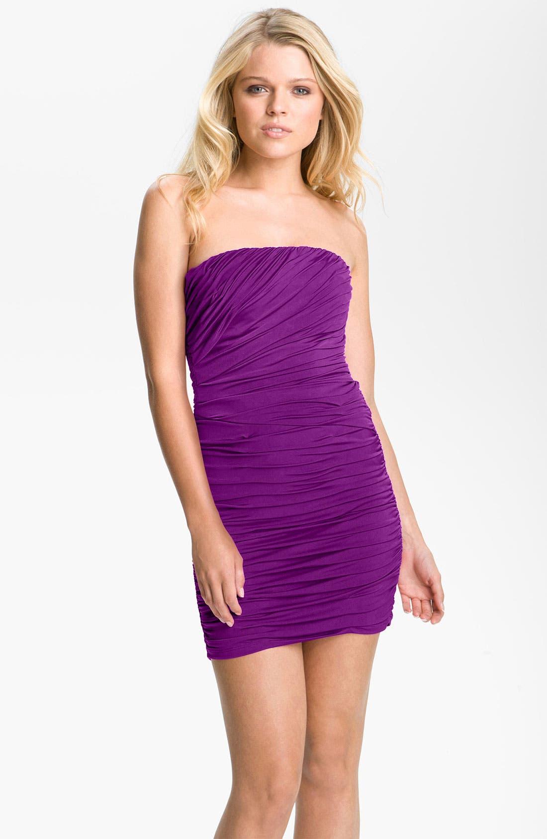 Main Image - Jessica McClintock Strapless Ruched Minidress