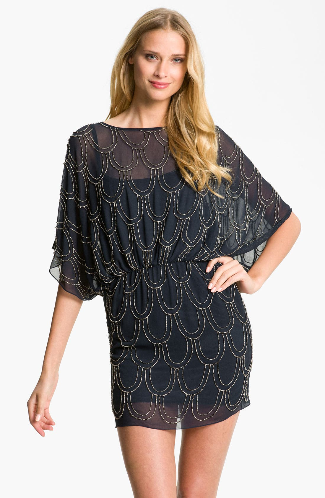 Main Image - JS Collections Beaded Chiffon Blouson Dress