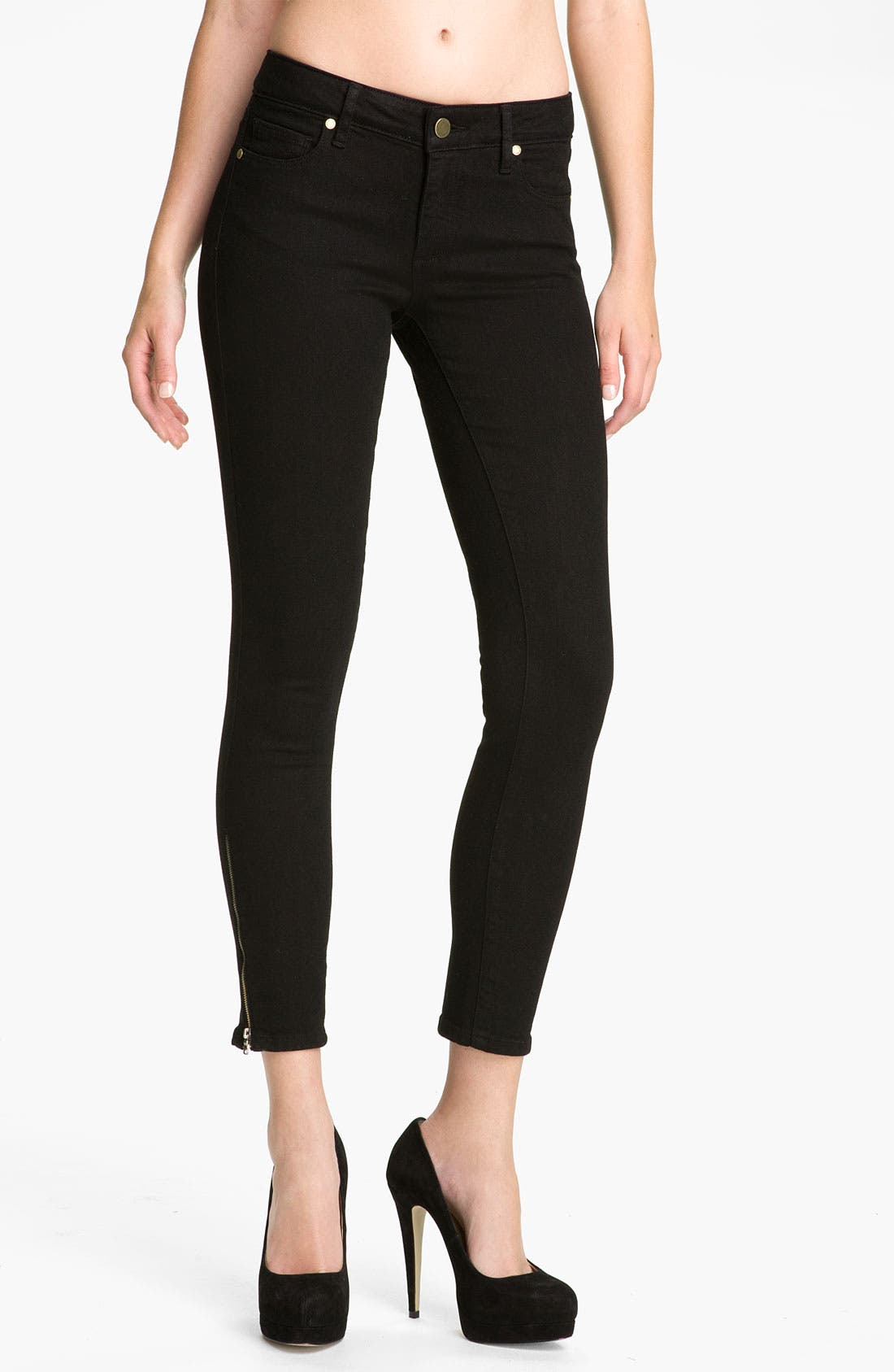 Alternate Image 1 Selected - Paige Denim 'Verdugo' Ankle Zip Skinny Stretch Jeans (Black Ink)