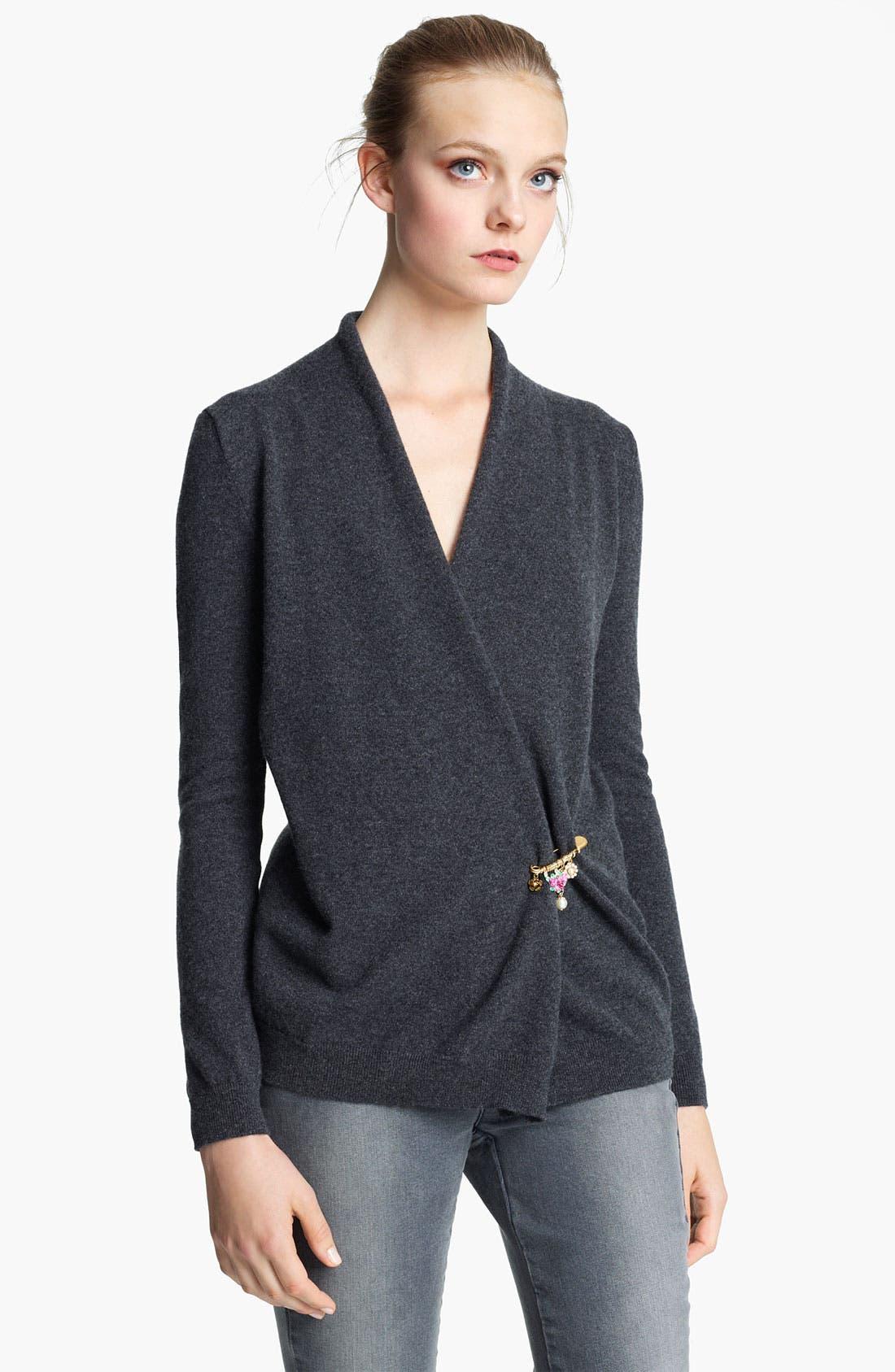 Main Image - Dolce&Gabbana Cashmere Cardigan with Embellished Pin