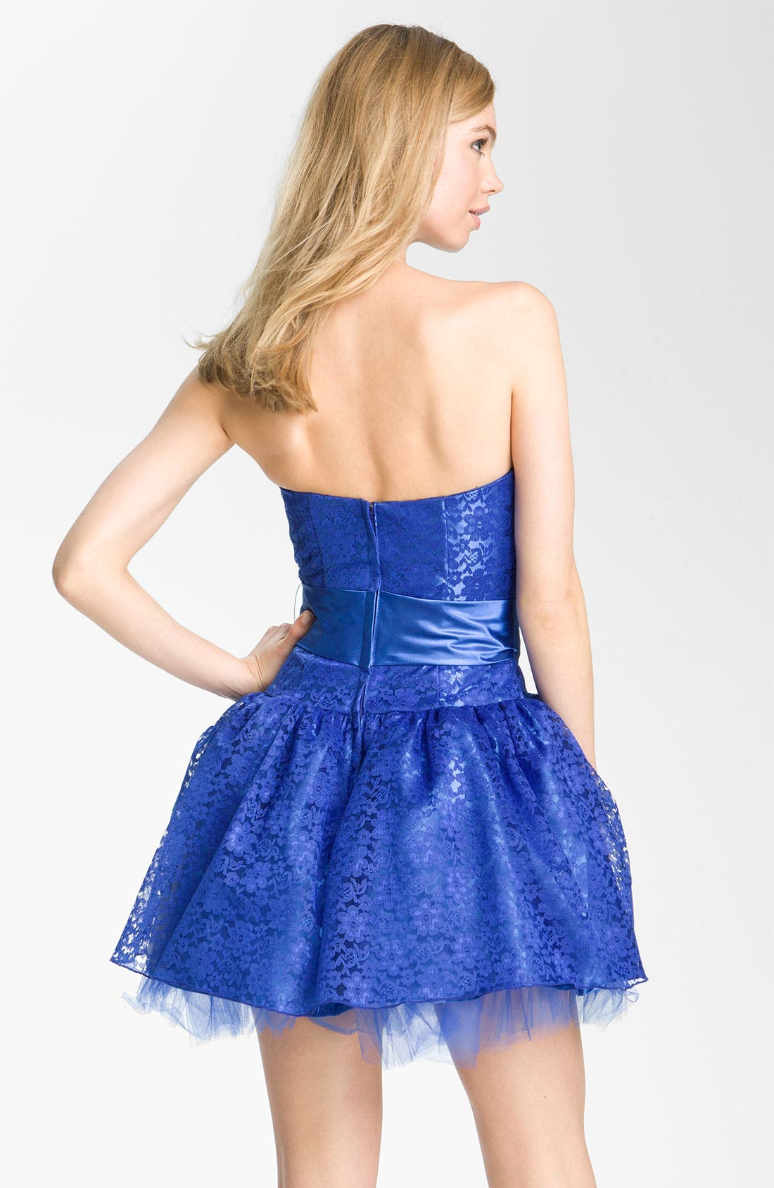 Alternate Image 2  - Jessica McClintock Strapless Lace & Tulle Dress