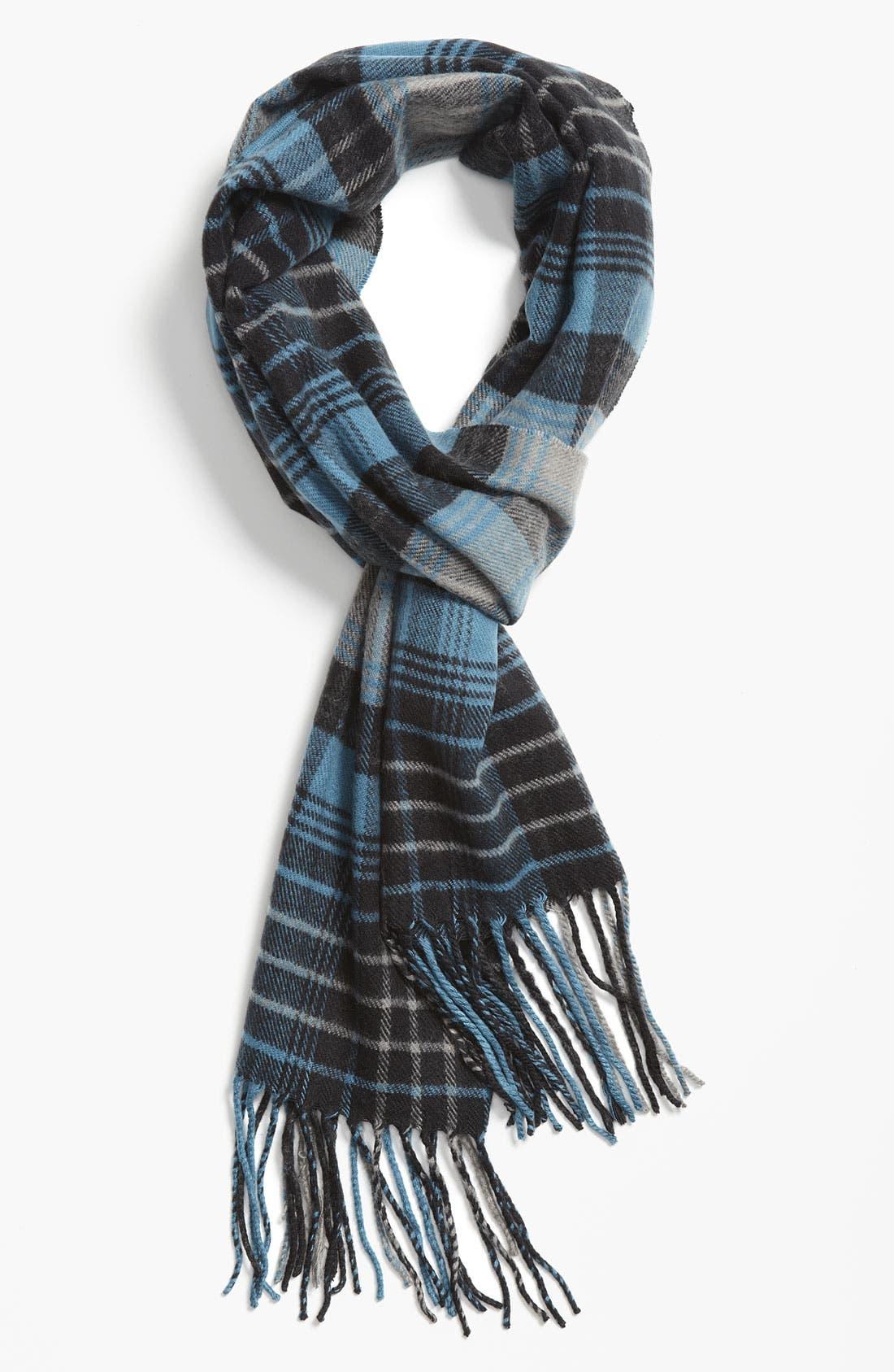 Main Image - Free Authority Blanket Plaid Knit Scarf