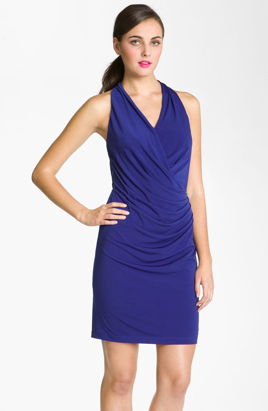 Main Image - Suzi Chin for Maggy Boutique Ruched Racer Back Jersey Dress