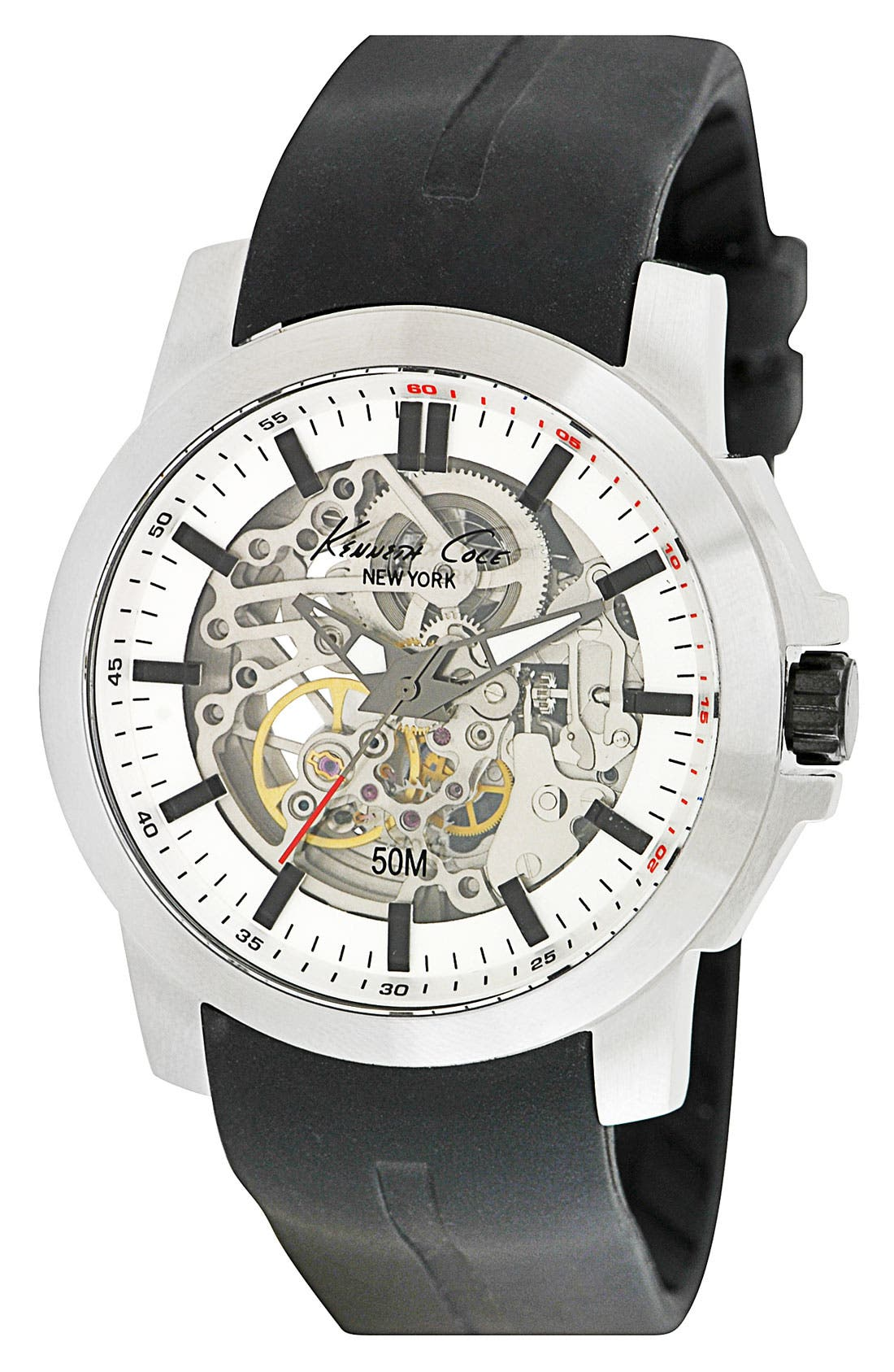 Alternate Image 1 Selected - Kenneth Cole New York Automatic Silicone Strap Watch