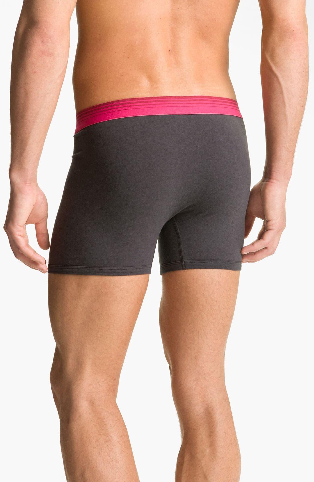 Alternate Image 2  - Basic Underwear Solid Boxer Briefs (3-Pack)