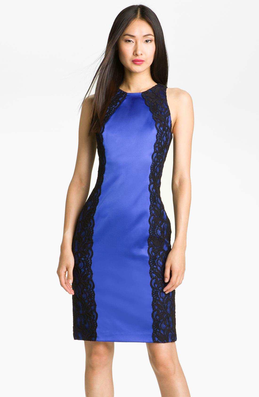 Alternate Image 1 Selected - David Meister Lace & Satin Sheath Dress