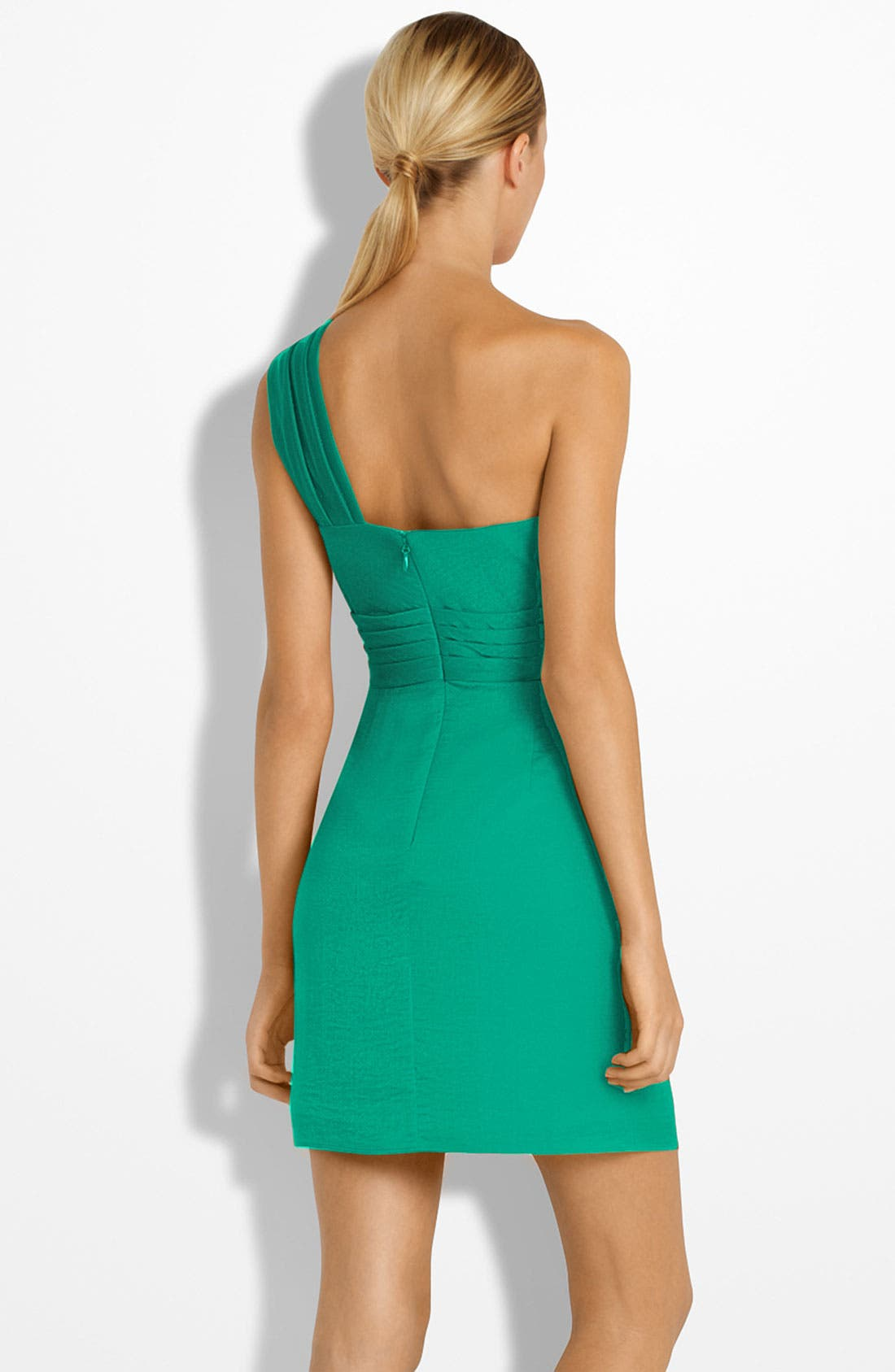 Alternate Image 2  - BCBGMAXAZRIA Drape Front One-Shoulder Satin Dress (Petite)