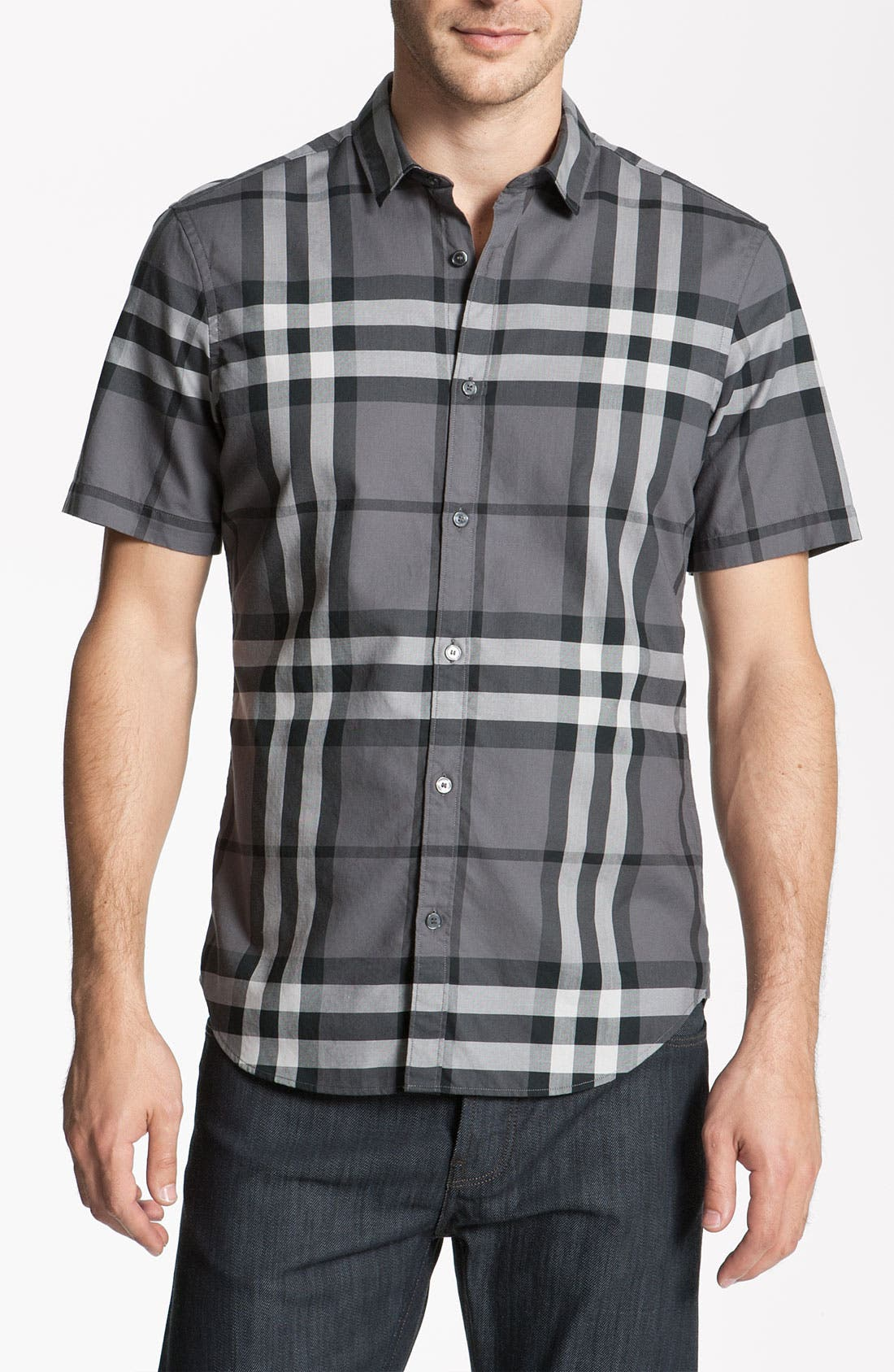 Alternate Image 1 Selected - Burberry Brit Trim Fit Check Sport Shirt