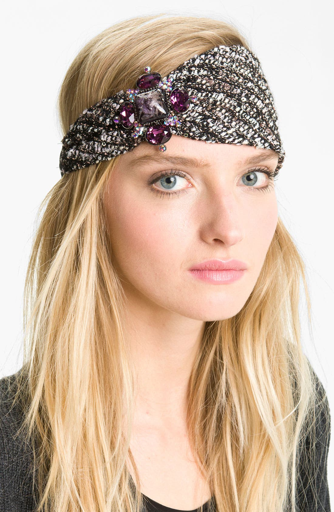 Alternate Image 1 Selected - Cara 'Jewel Sparkle' Tweed Head Wrap