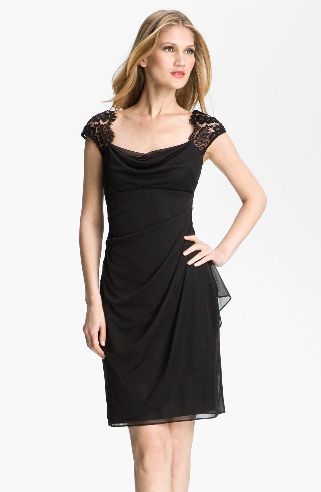 Main Image - Xscape Lace Yoke Draped Mesh Dress