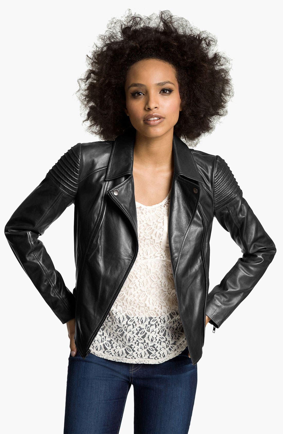 Main Image - Trouvé Quilted Leather Biker Jacket