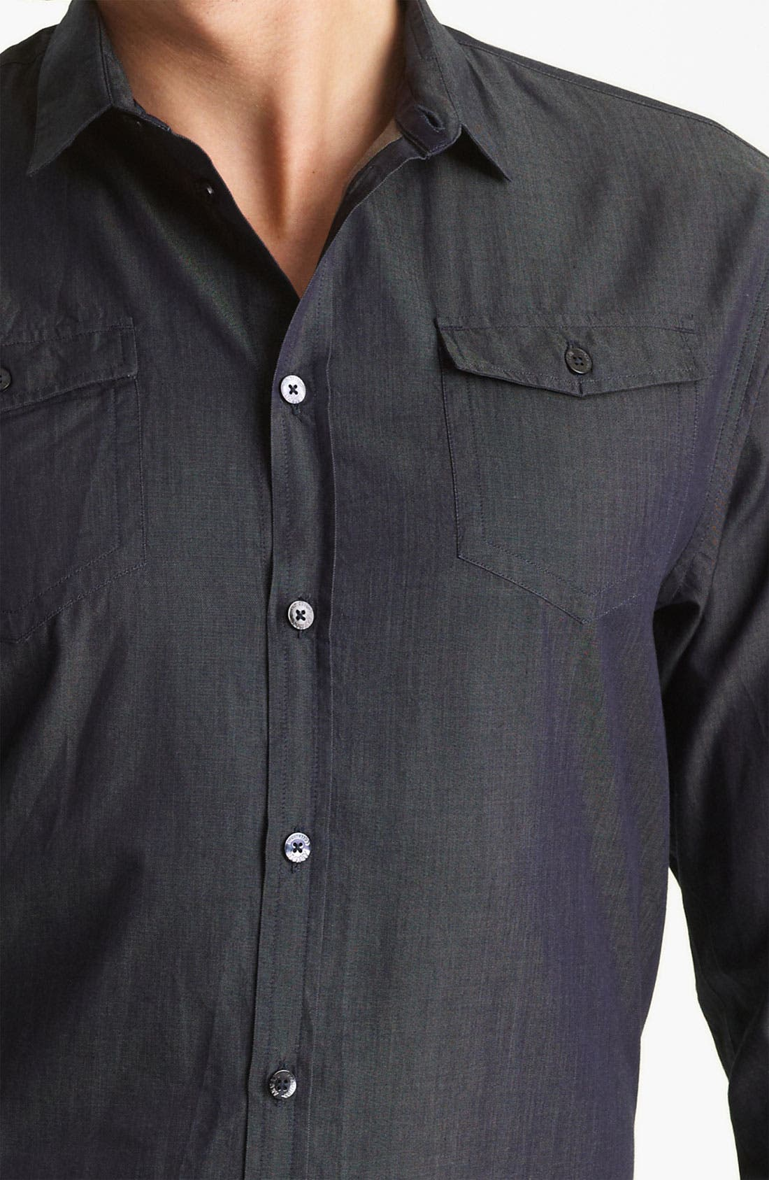 Alternate Image 3  - Armani Collezioni Chambray Sport Shirt