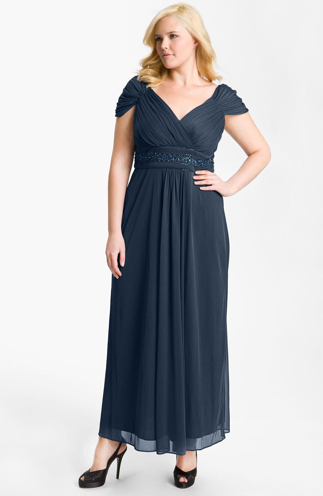 Alternate Image 1 Selected - Alex Evenings Beaded Cap Sleeve Mesh Dress (Plus)