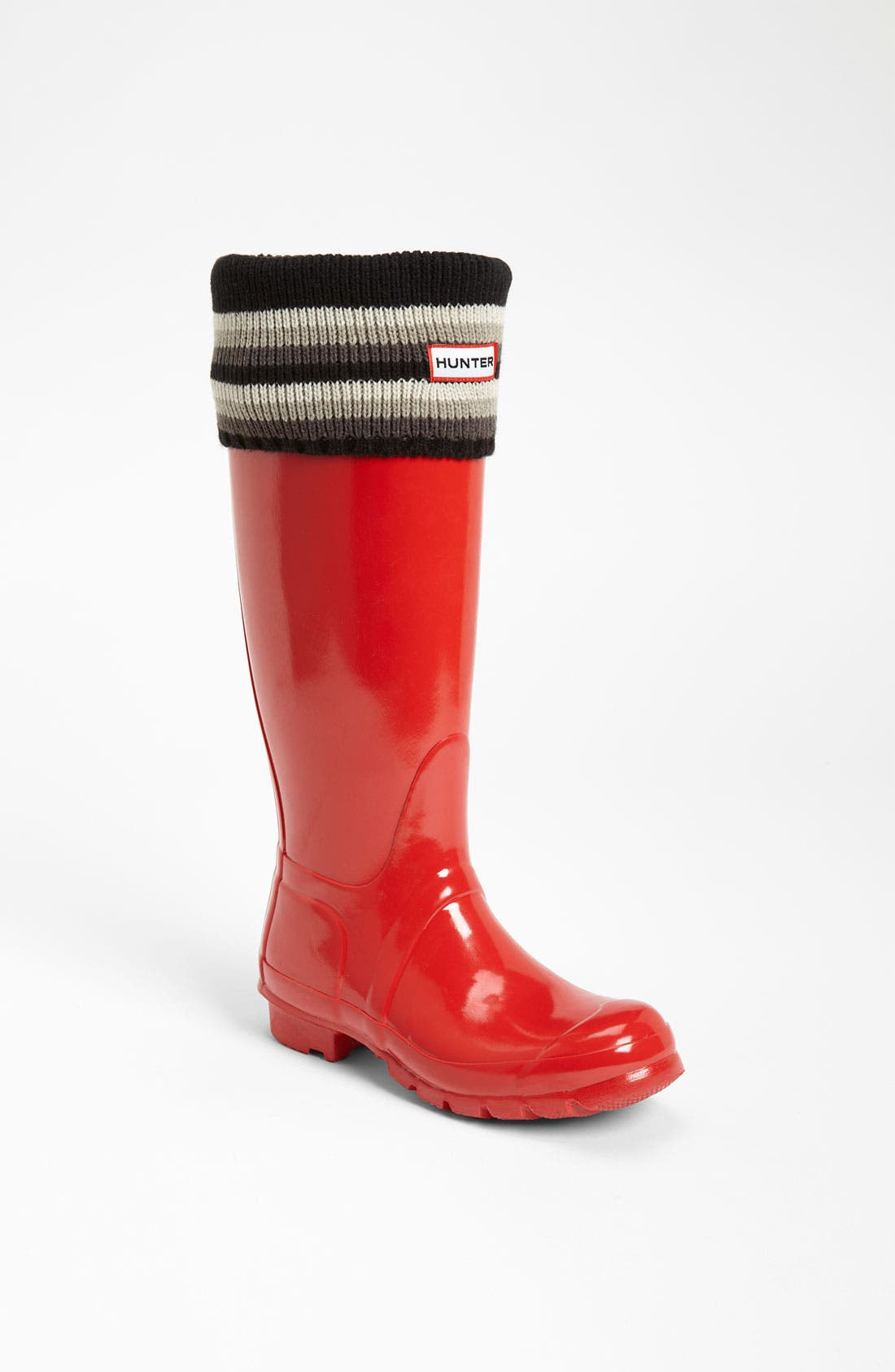 Main Image - Hunter Tall Gloss Rain Boot & Pattern Cuff Welly Socks
