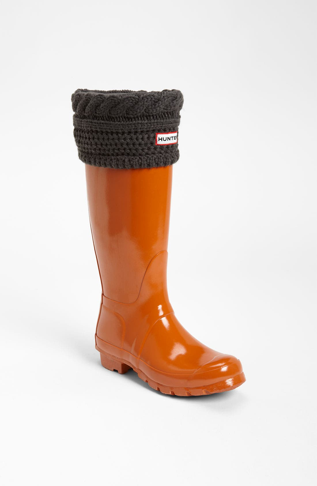 Main Image - Hunter Tall Gloss Rain Boot & Cable Knit Cuff Welly Socks