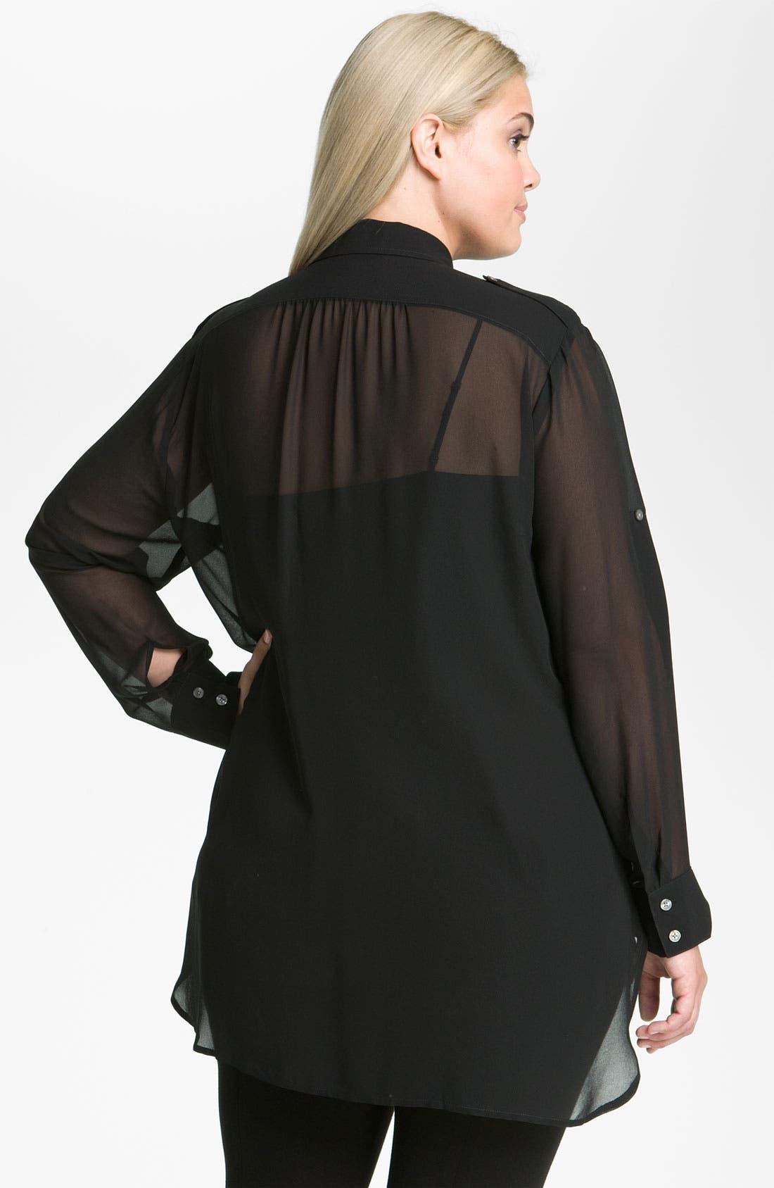 Alternate Image 2  - DKNYC Sheer Big Shirt & Camisole (Plus)