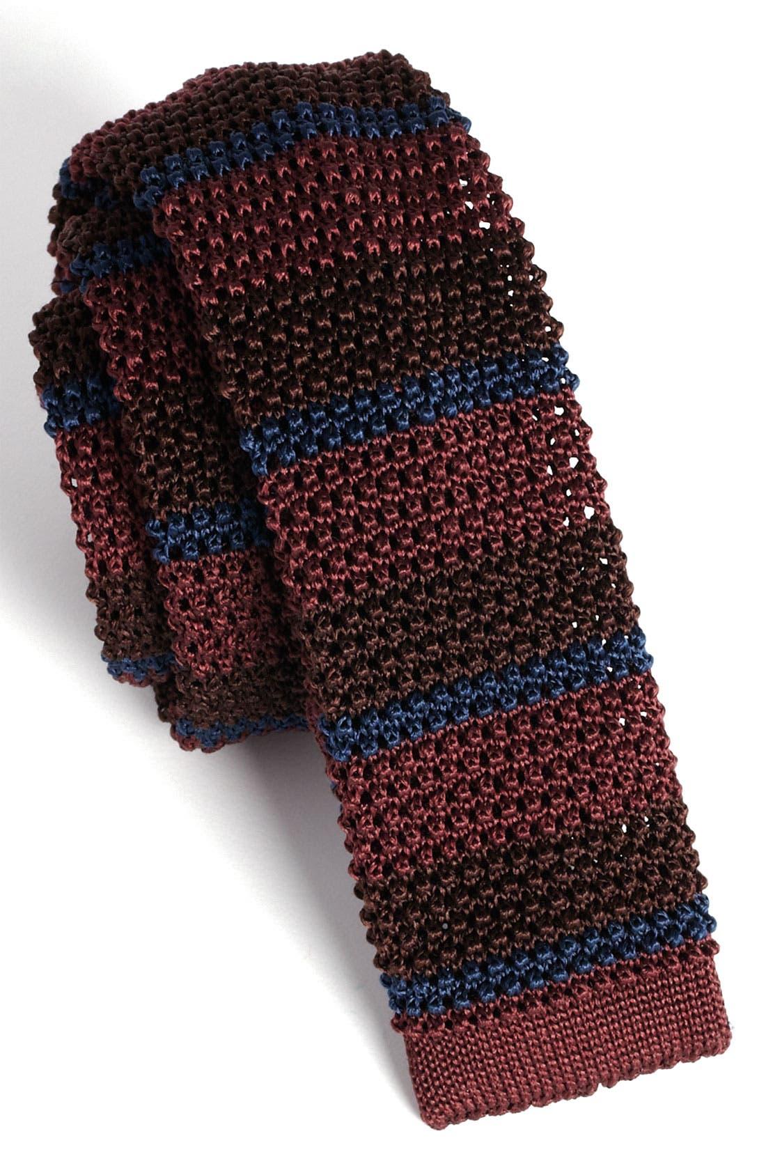 Alternate Image 2  - Burberry Prorsum Horizontal Stripe Knit Silk Tie