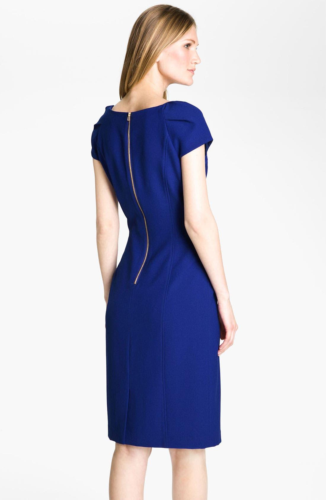 Alternate Image 2  - Tahari by Arthur S. Levine Short Sleeve Crepe Sheath Dress