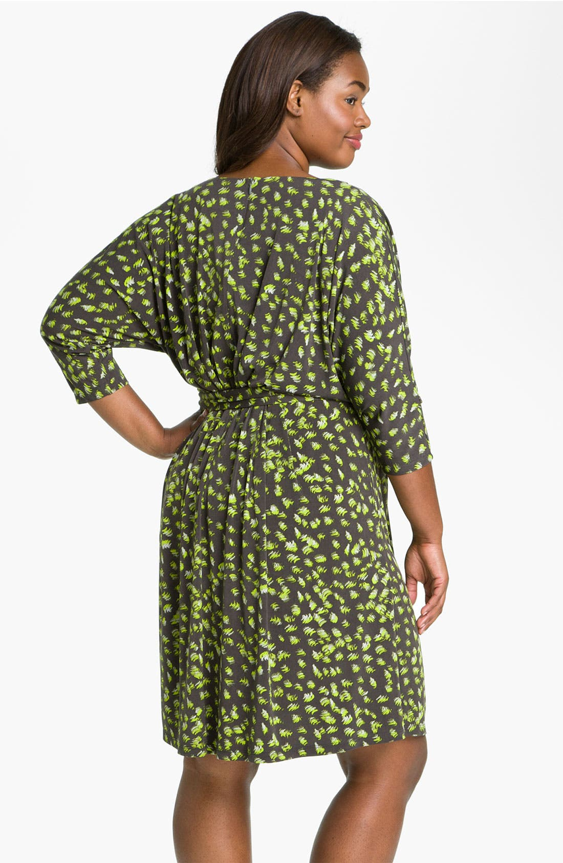 Alternate Image 2  - Suzi Chin for Maggy Boutique Tie Front Print Dress (Plus)