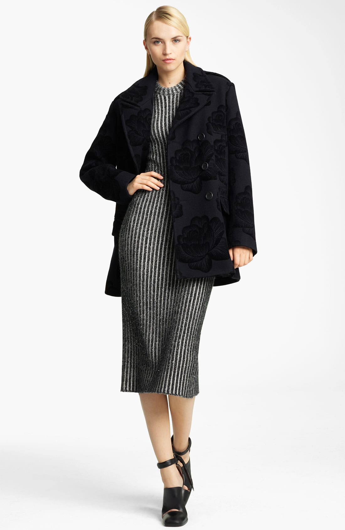 Alternate Image 5  - Christopher Kane Rose Flock Wool Blend Peacoat