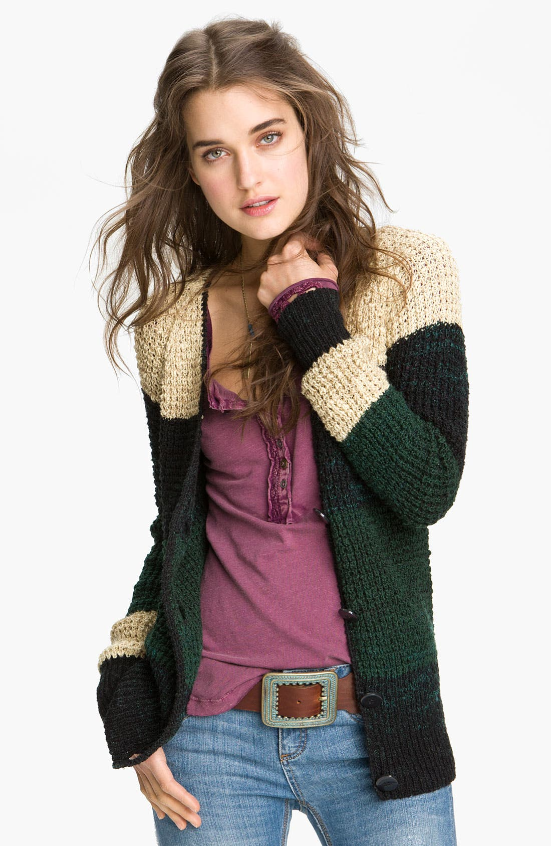 Alternate Image 1 Selected - Free People 'Lake Tahoe' Colorblock Cardigan