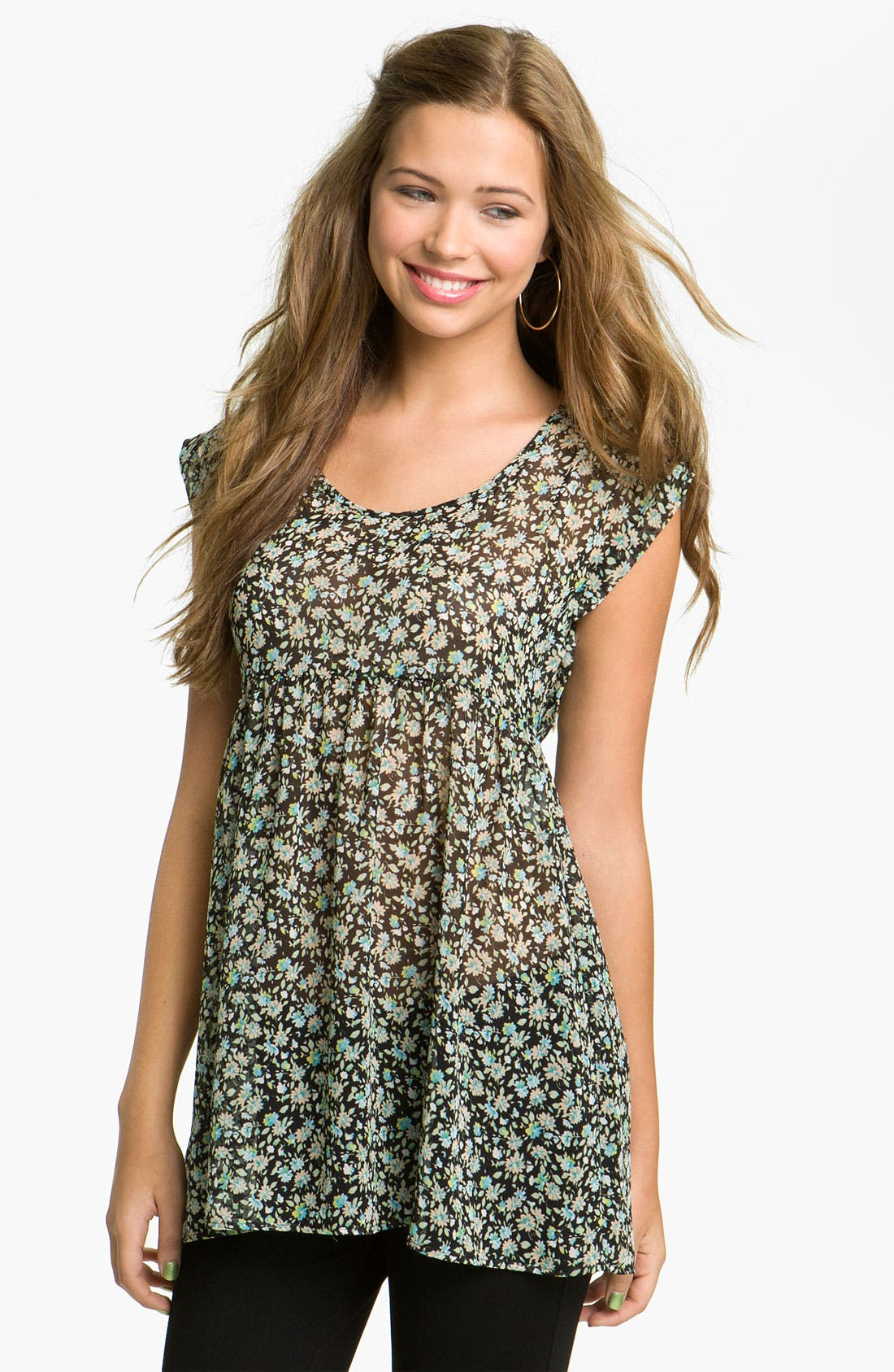 Main Image - Elodie Lace Back Floral Tunic (Juniors)