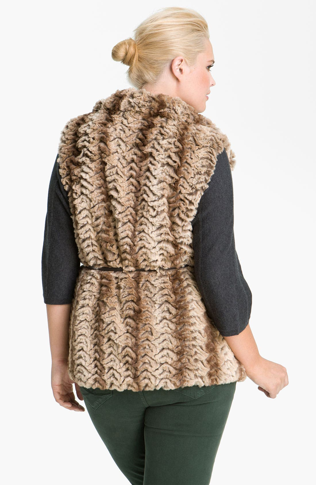 Alternate Image 2  - Gallery Reversible Faux Fur Vest (Plus)