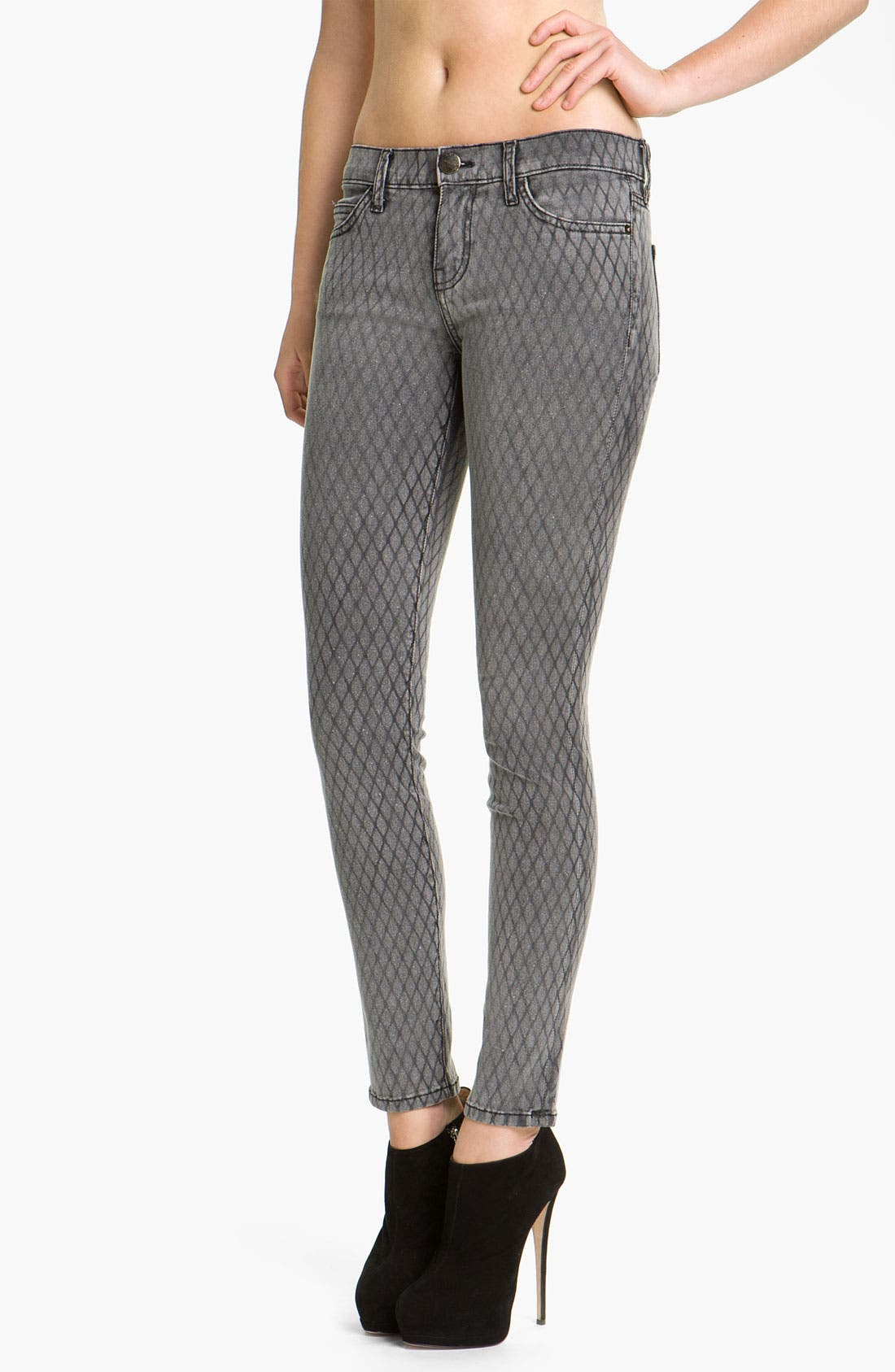 Alternate Image 1 Selected - Current/Elliott Print Stretch Skinny Jeans (Fishnet)