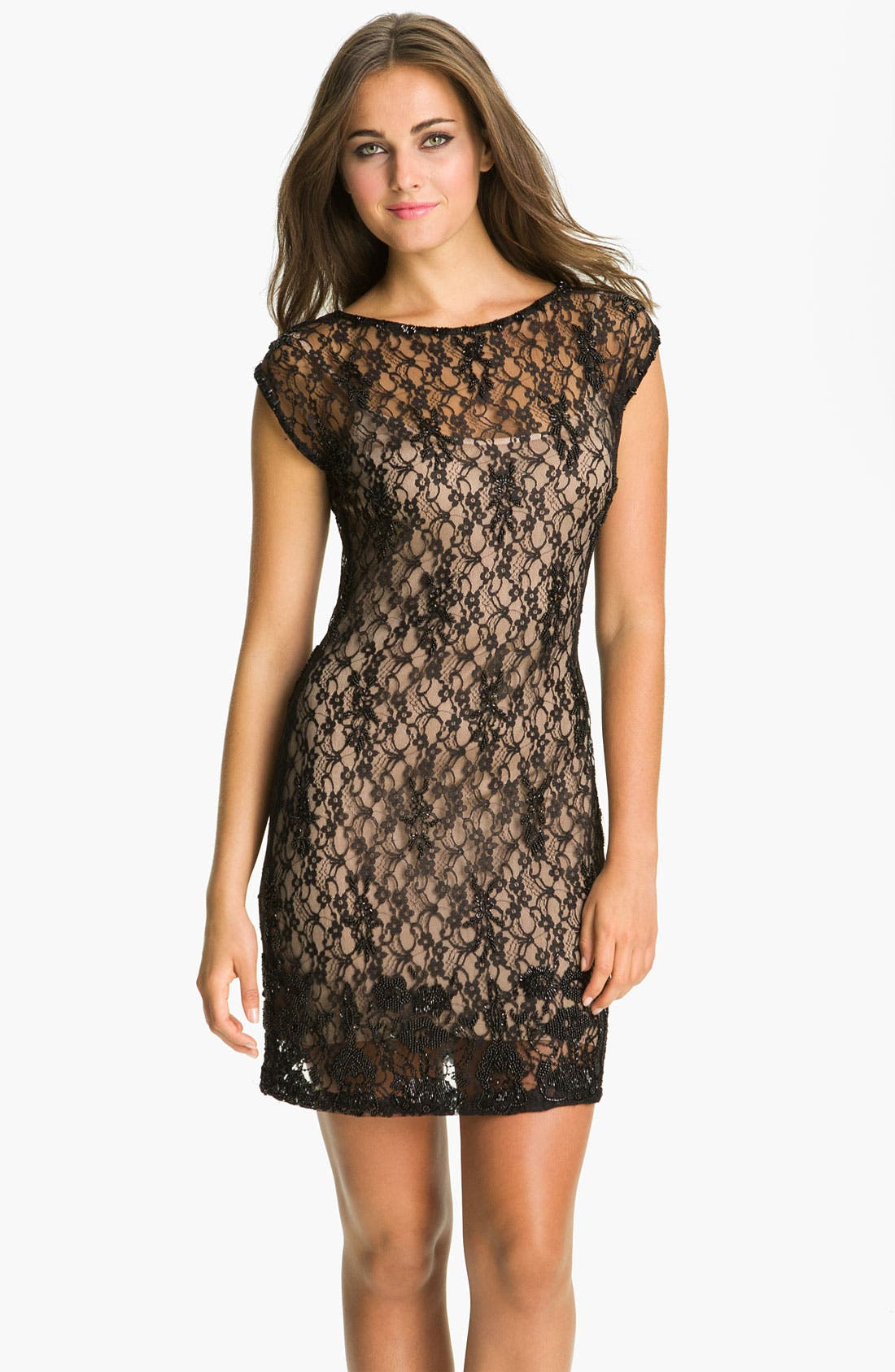 Alternate Image 1 Selected - Aidan Mattox Cap Sleeve Lace Overlay Slip Dress