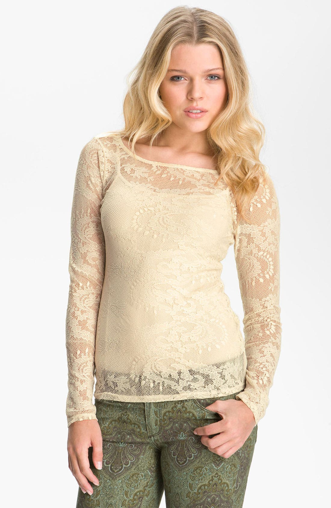 Alternate Image 1 Selected - Ella Moss Stretch Lace Top