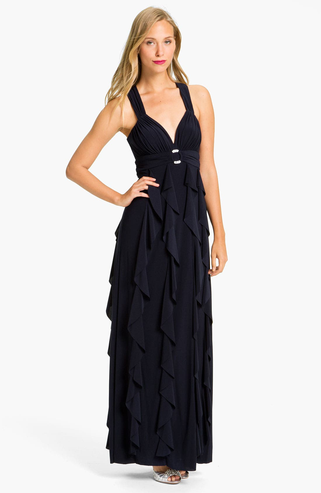 Main Image - Betsy & Adam Open Back Ruffled Jersey Gown