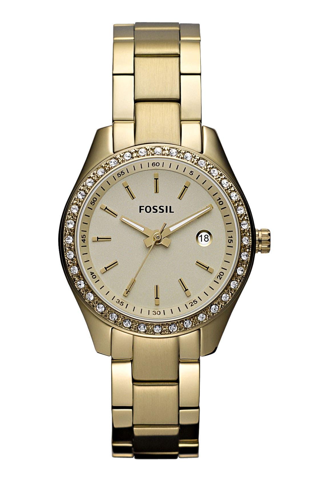 Alternate Image 1 Selected - Fossil 'Mini Stella' Crystal Bezel Bracelet Watch, 30mm