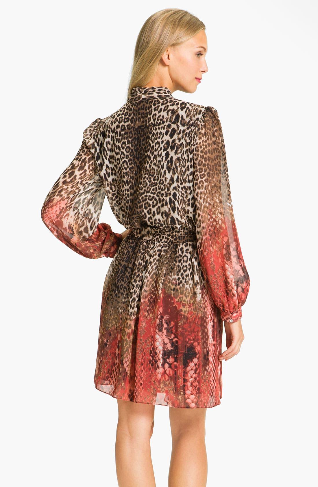 Alternate Image 2  - Donna Ricco Animal Print Surplice Chiffon Dress