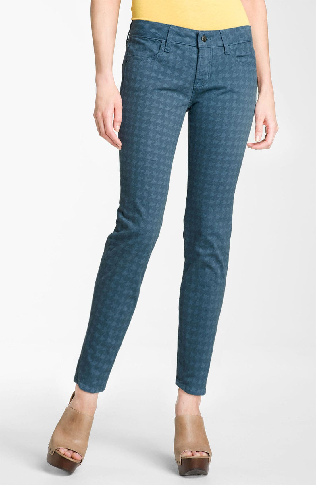 Main Image - Blue Essence Houndstooth Twill Ankle Jeans (Petite)