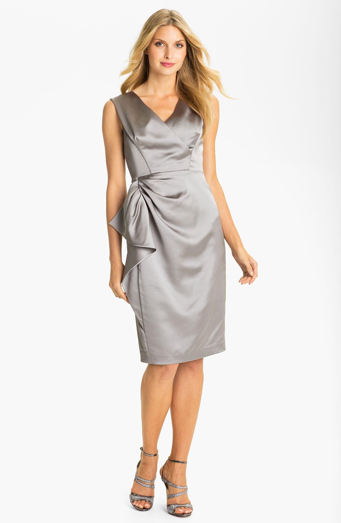 Main Image - Maggy London Stretch Satin Sheath Dress (Regular & Petite)