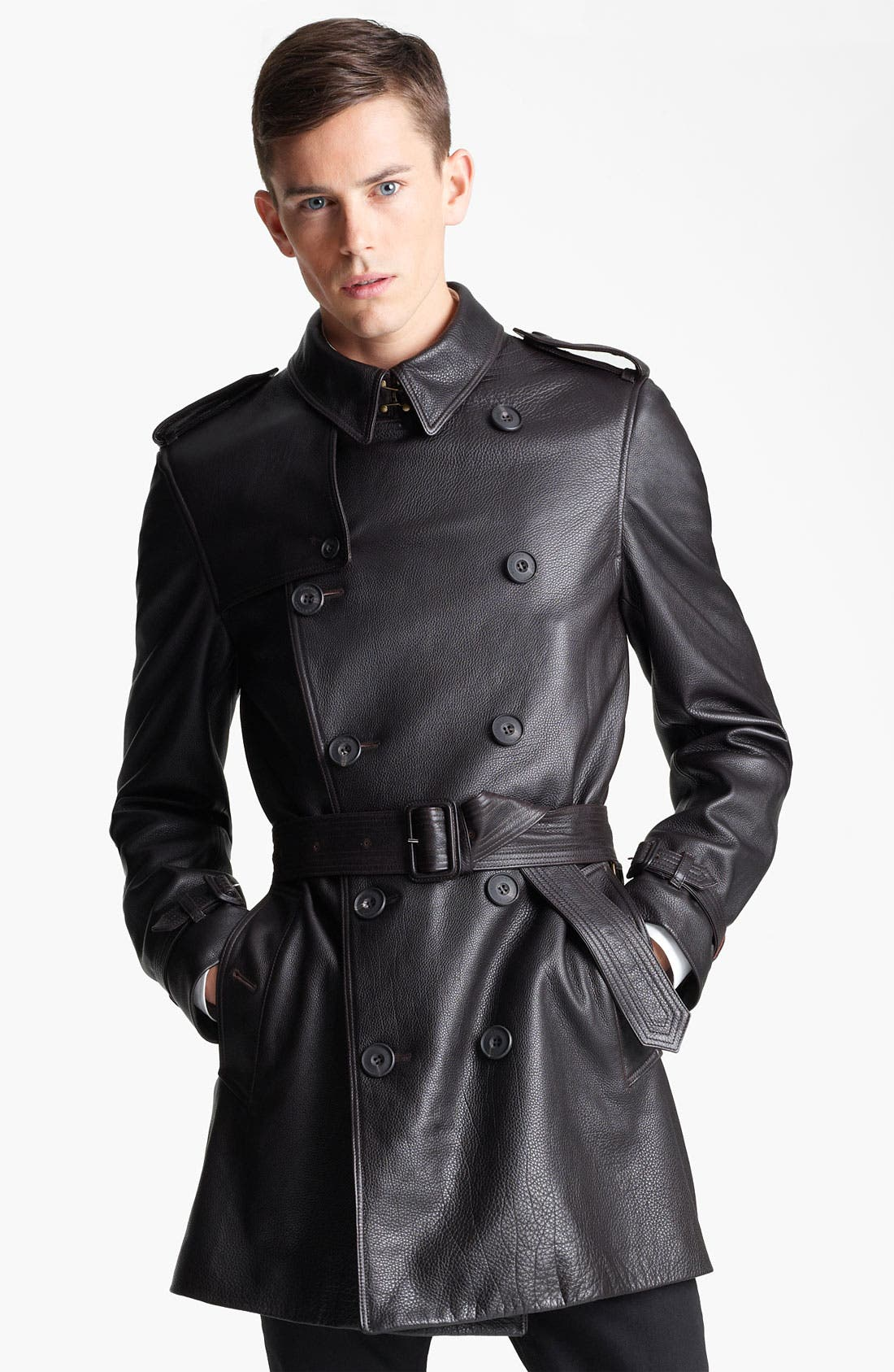 Alternate Image 1 Selected - Burberry London Belted Leather Trench Coat