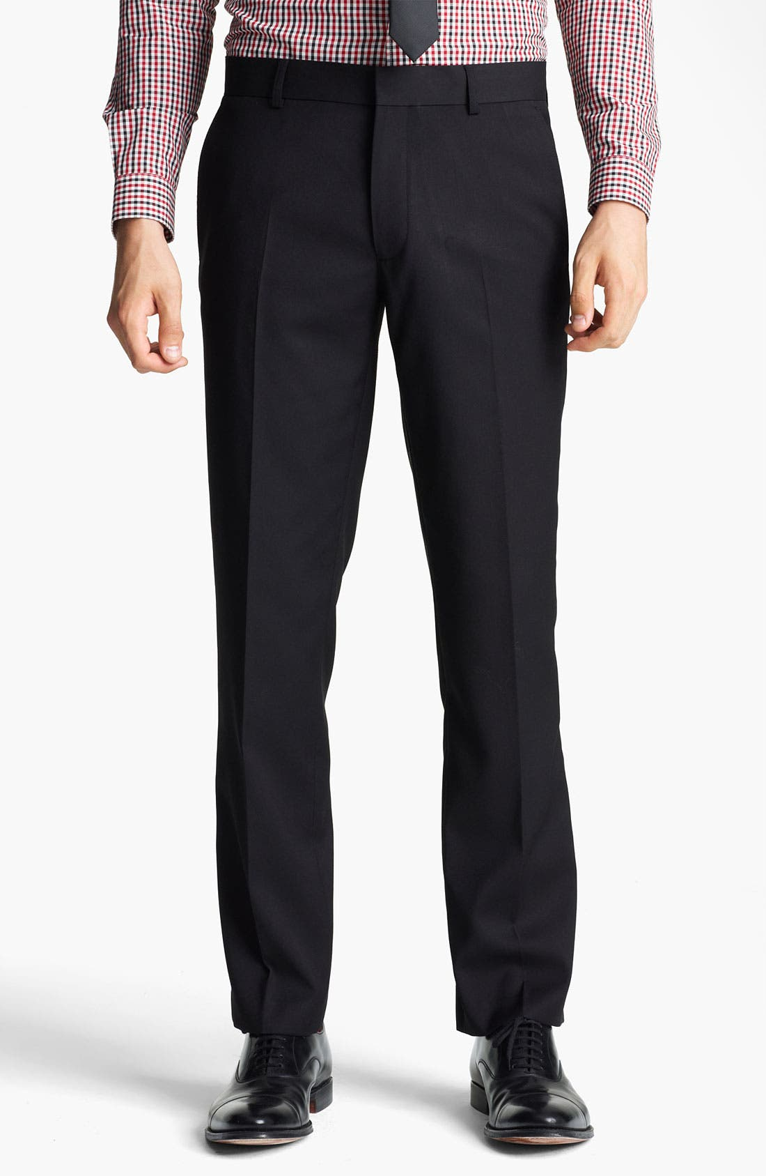 Alternate Image 1 Selected - Topman Slim Fit Flat Front Trousers