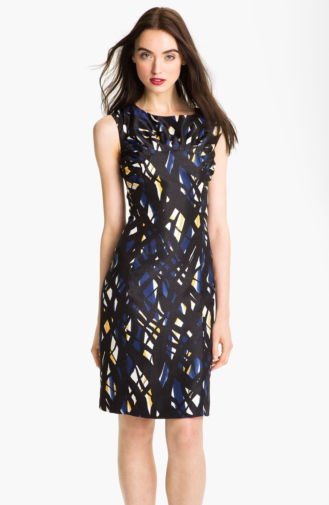 Main Image - Tahari Print Pleated Yoke Sheath Dress