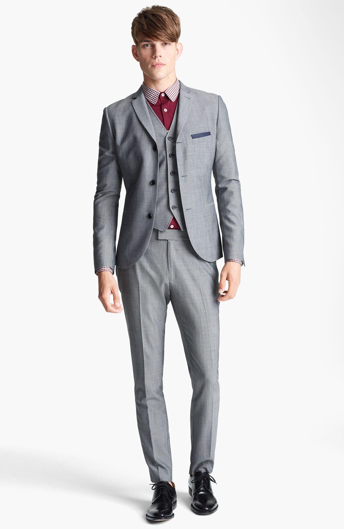 Alternate Image 4  - Topman Skinny Three Button Blazer
