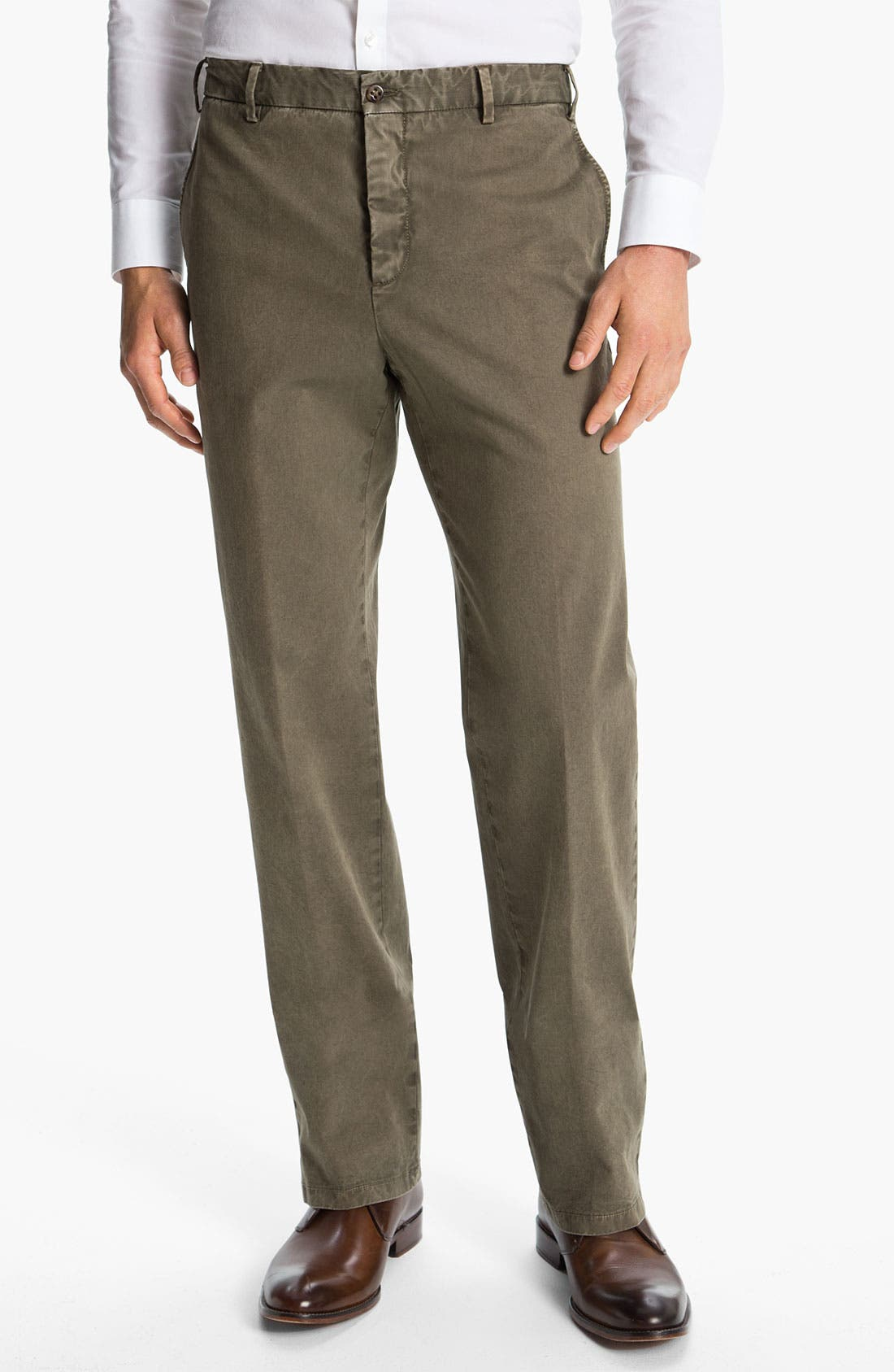 Main Image - Zanella 'Devon' Flat Front Cotton Trousers