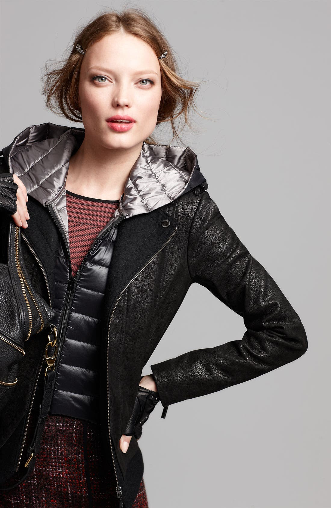 Alternate Image 6  - Bernardo Leather Jacket with Faux Vest Inset