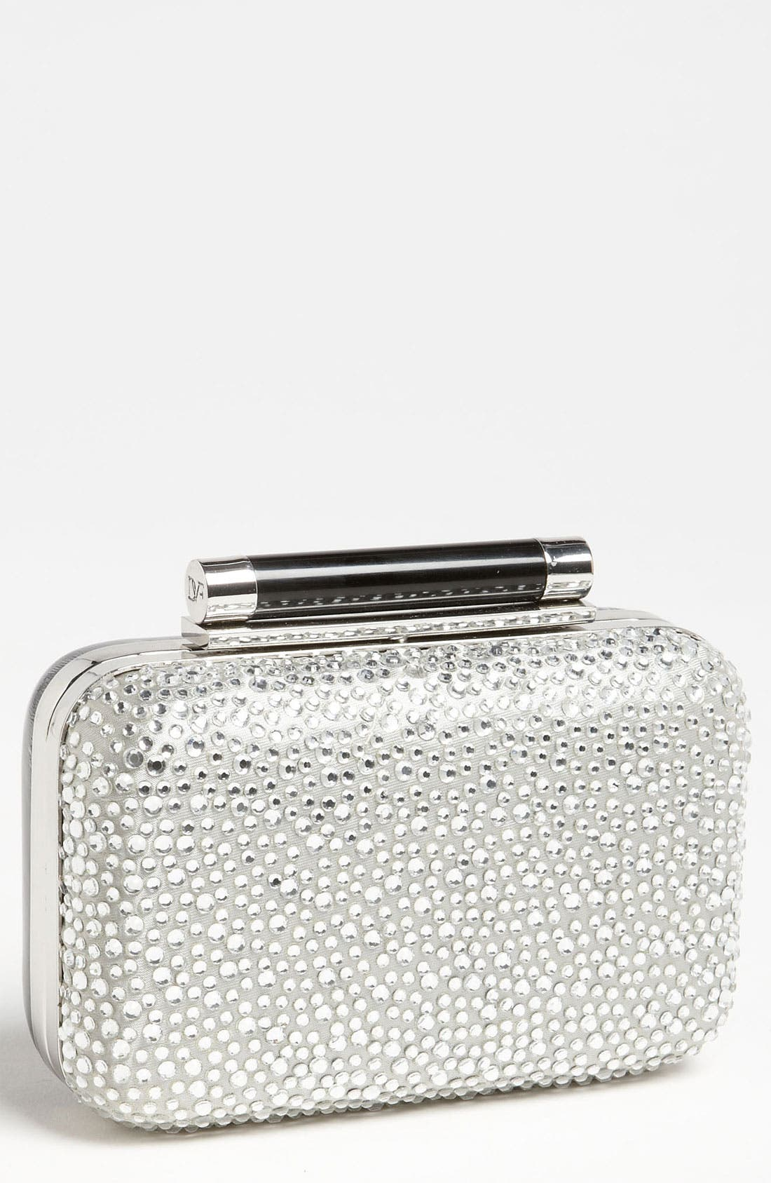 Main Image - Diane von Furstenberg 'Tonda - Small' Pavé Crystal & Patent Leather Clutch