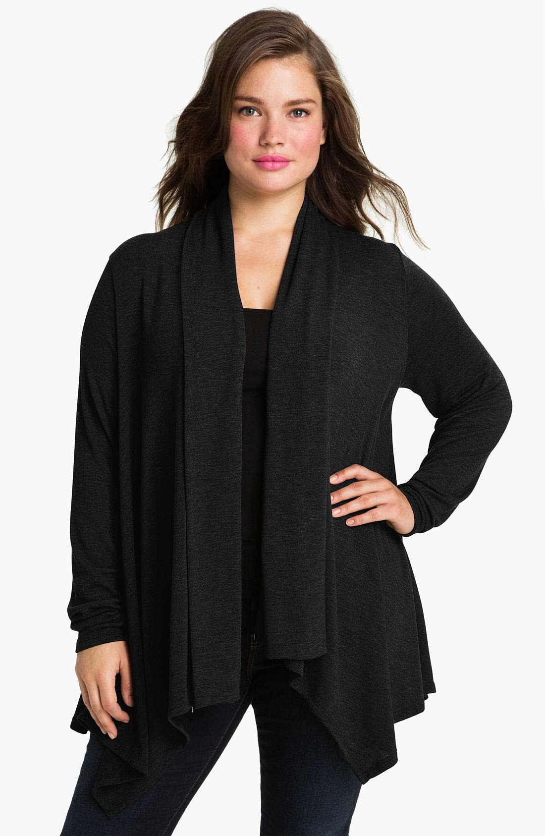 Main Image - Three Dots Zip Front Cascade Cardigan (Plus)