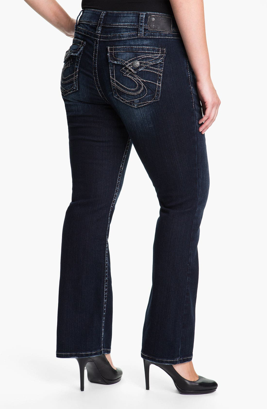 Alternate Image 2  - Silver Jeans Co. 'Suki' Surplus Bootcut Jeans (Juniors Plus)