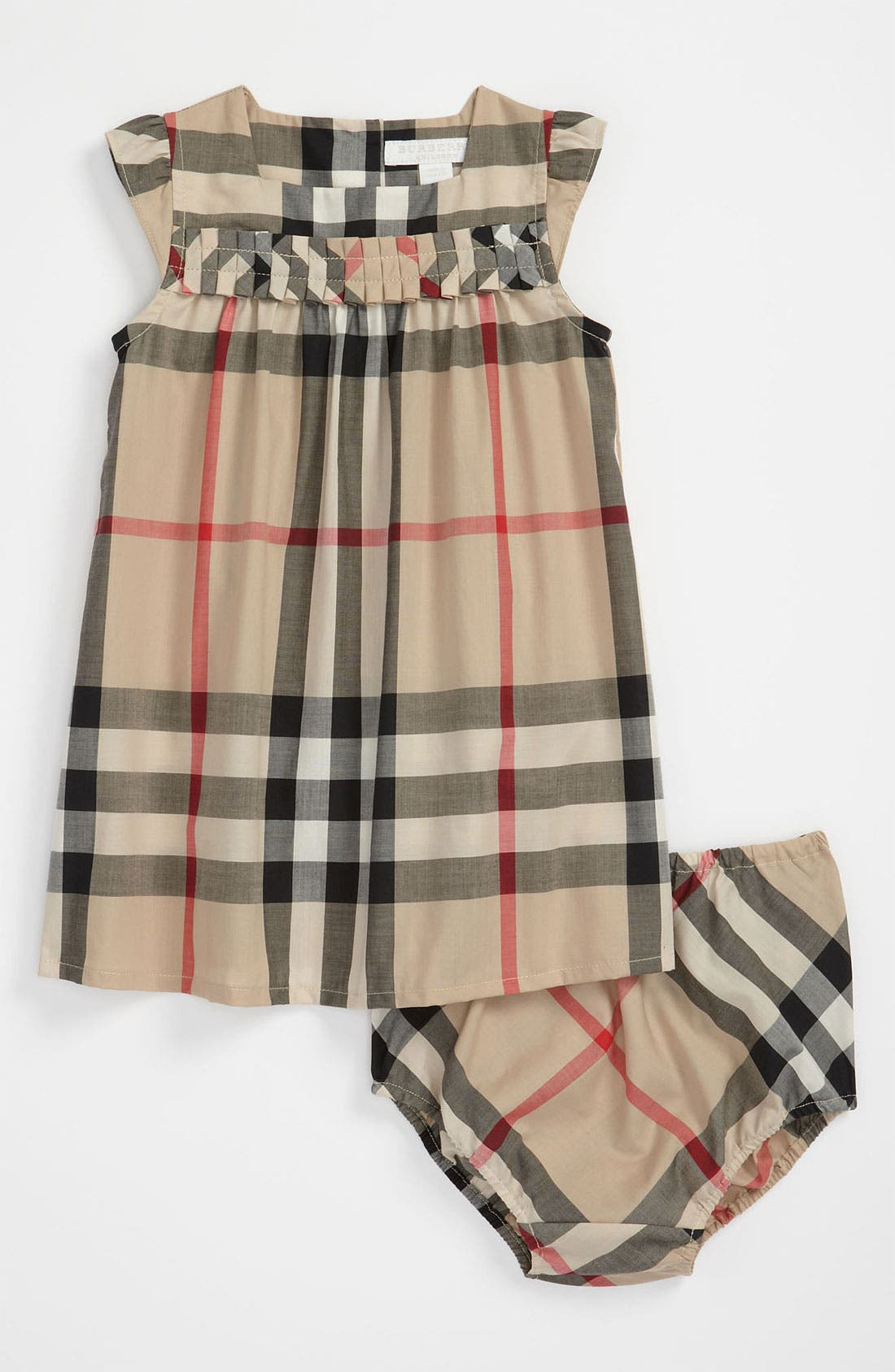 Main Image - Burberry Check Print Dress (Baby)
